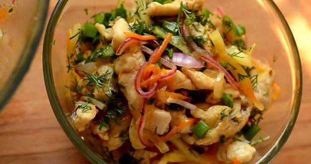 Хе из щуки по-корейски - рецепт закусочного салата