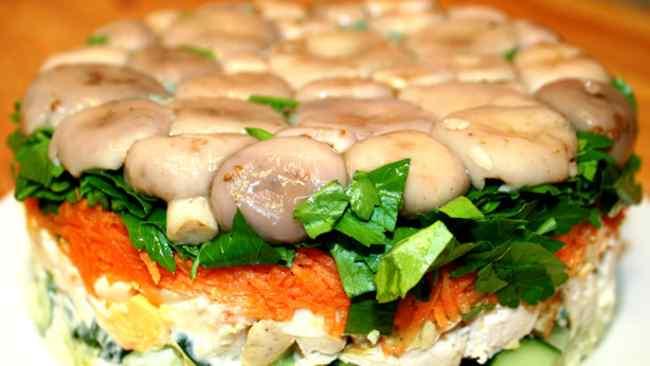 Салат грибная поляна пошагово