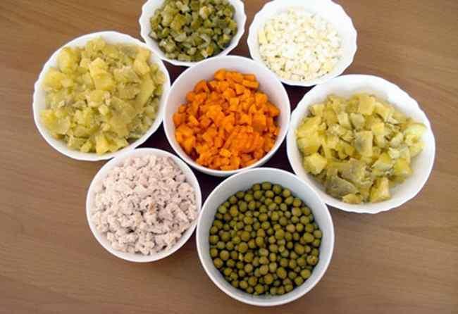 Ингредиенты для столичного салата с курицей