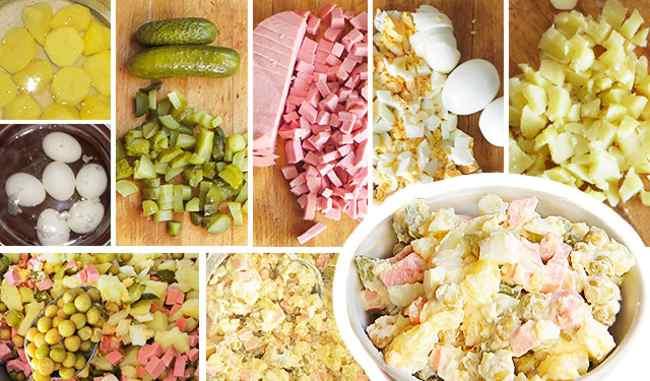 Какие нужны ингредиенты для салата оливье