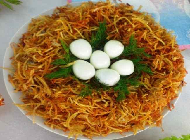 Салат гнездо глухаря - пошаговый рецепт с фото
