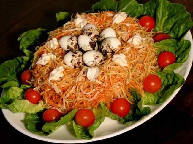Готовим салат гнездо глухаря
