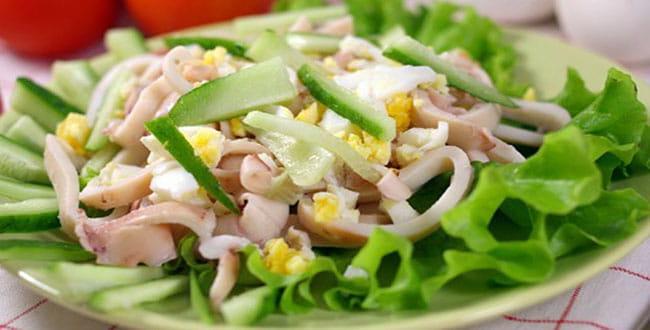 Вкусный салат с кальмарами 🥝 пошаговый рецепт приготовления