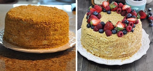 Вариант украшения торта Медовик со сметанным кремом