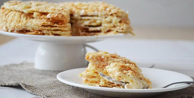Пошаговый рецепт торта Наполеон со сгущенкой