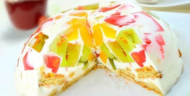 Торт Битое стекло с крекером 🥝 пошаговый рецепт без выпечки, тортик с фруктами и йогуртом