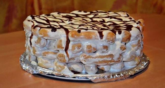 Так выглядит готовый торт Дамские пальчики