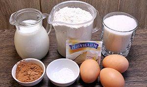 Необходимые ингридиенты для торта Зебра на кефире
