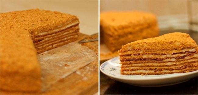 Так выглядит готовый торт Медовик по классическому рецепту с заварным кремом