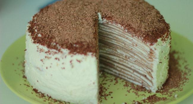 Так выглядит готовый блинный торт