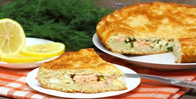 Пошаговый рецепт пирога с красной рыбой