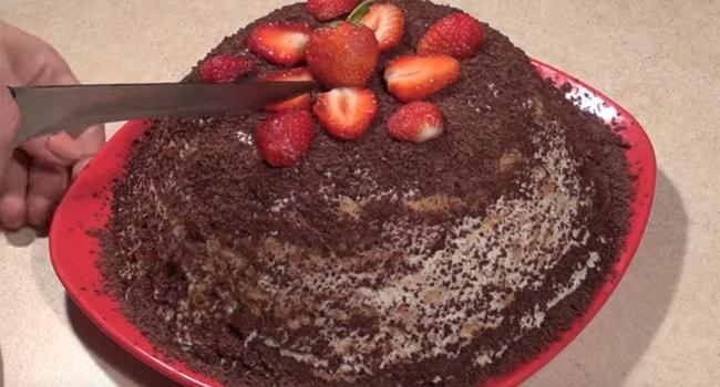 Так выглядит Банановый торт без выпечки с печеньем