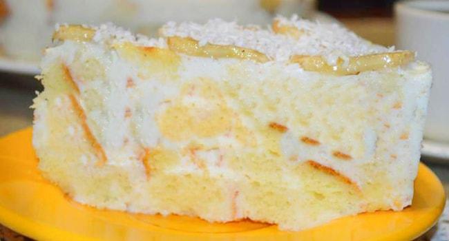 Так выглядит Банановый торт со сметанным кремом