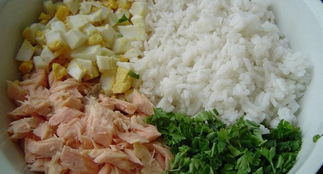 Начинка для пирога с рыбой и рисом