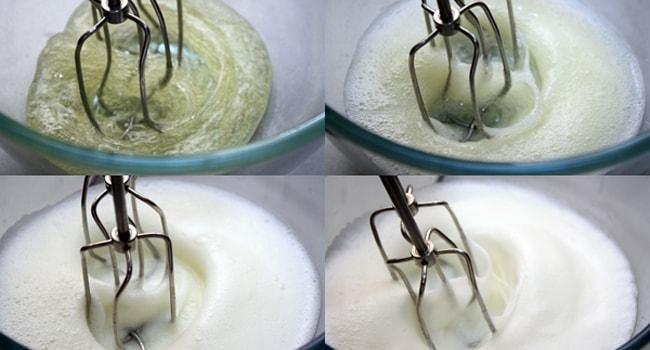 Взбиваем белково-лимонную смесь до густой пены