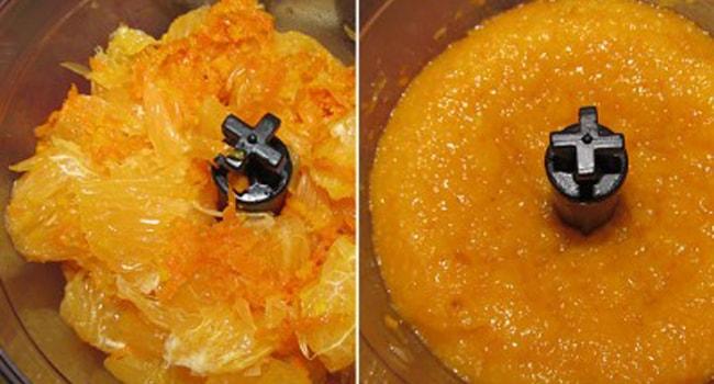 Измельчить апельсин для теста