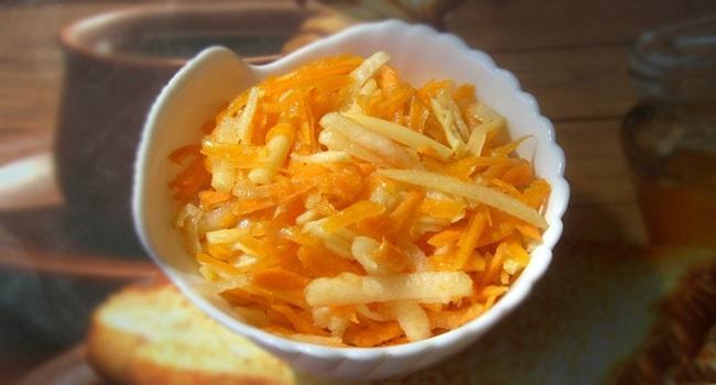 Вкусный салат из тыквы с яблоком и морковью