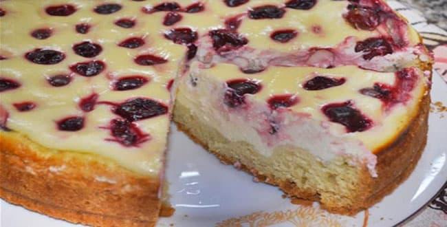 Пирог с вишней рецепт 🥝 открытый пирог с творогом в духовке