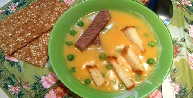 Пошаговый рецепт приготовления горохового супа-пюре