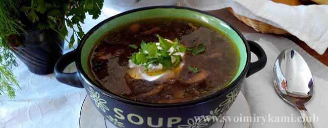 Украшаем и подаем наш грибной суп