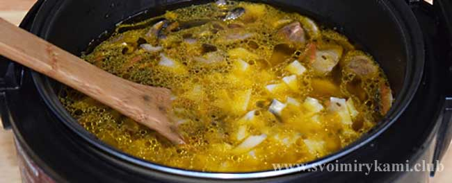 Заливаем воду для грибного супа в мультиварке