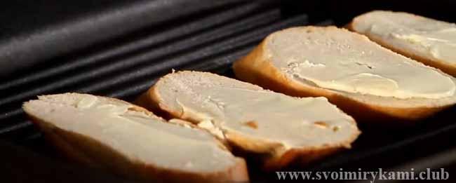 Подготовим багет для паштета из гусиной печени