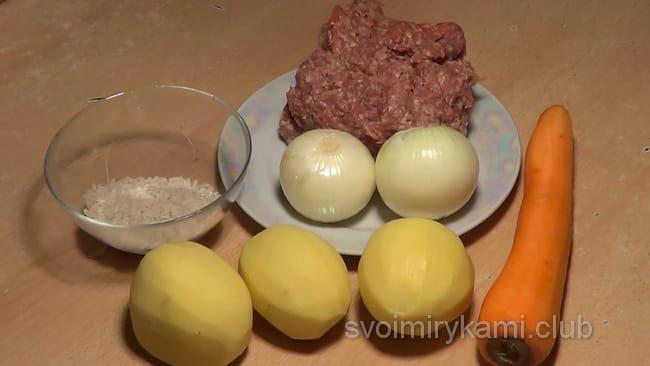 ингредиенты для приготовления супа с фрикадельками и рисом