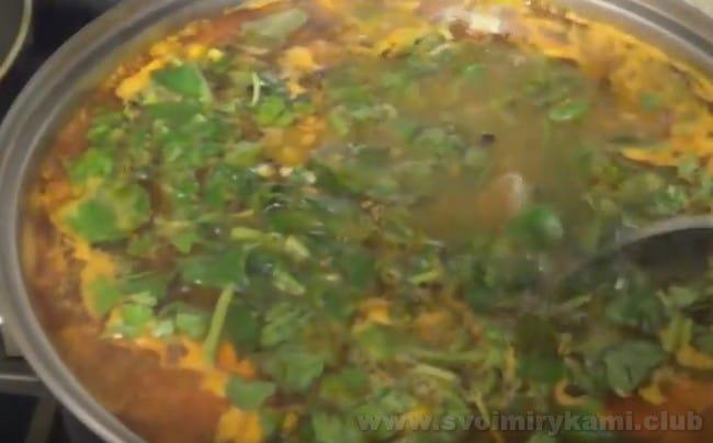 Когда суп харчо из свинины почти готов, добавляем в него свежую зелень.
