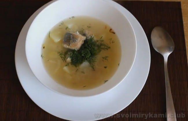Отличным дополнением к супу из консервированной горбуши станут гренки или тосты.