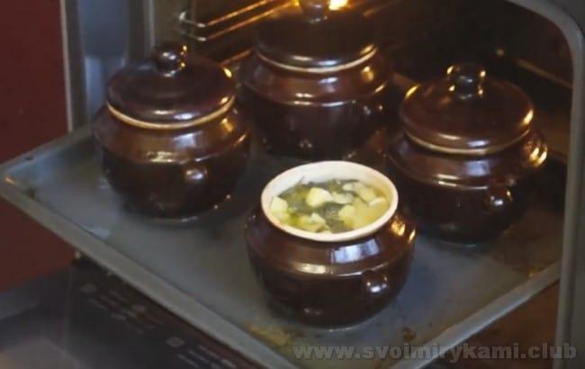 Суп из консервированной горбуши в горшочках будет готов минут через 40.