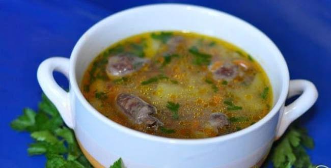 Пошаговый рецепт приготовления супа из куриных сердечек и желудков