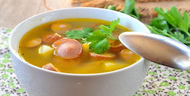 Пошаговый рецепт приготовления супа с сосисками