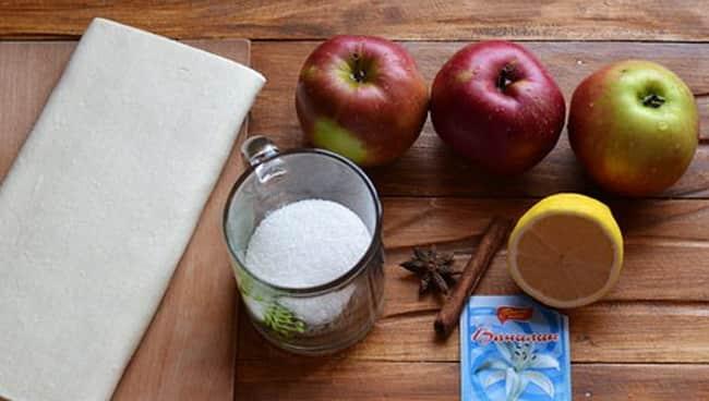 Чтобы приготовить яблочные булочки, я взяла такие ингредиенты