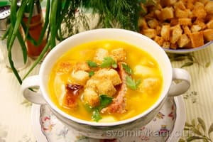 Г*отовый суп с фрикадельками и рисом.