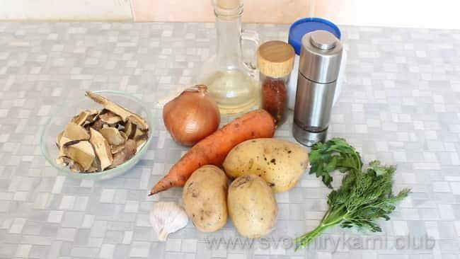 Грибной суп я приготовлю из сушеных белых грибов и таких ингредиентов