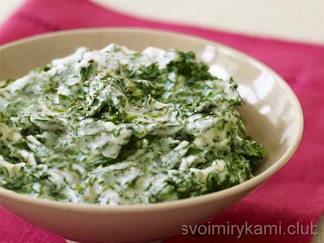 Приготовьте гарнир из шпината по нашим подробным рецептам.