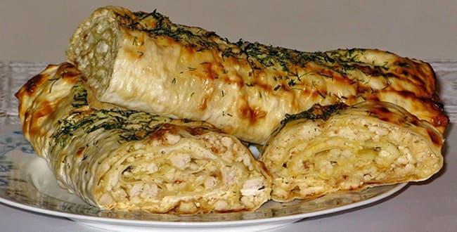 Как приготовить лаваш с начинкой в духовке по пошаговому рецепту с фото