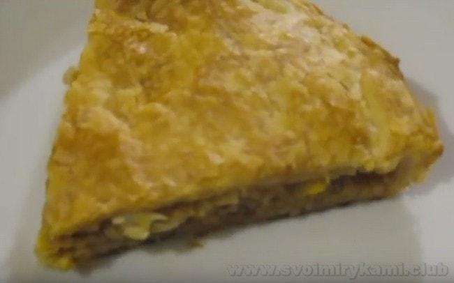 Теперь вы знаете, как приготовить пирог с капустой из готового слоеного теста.