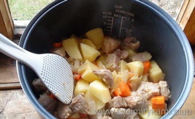 Жаркое из курицы с картошкой в мультиварке готовим овощи в мультиварке