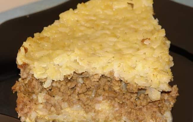 Вот такую рисовую запеканку с куриным фаршем я испекла в духовке по очень простому рецепту
