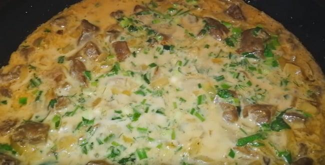 Рецепт приготовления говяжей печени в сметане с фото