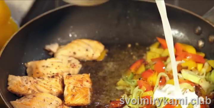 паста с семгой в сливочном соусе со сливками