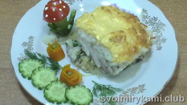 рыба с рисом в духовке видео