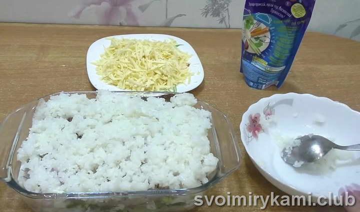 рыба с рисом в духовке на сковородке