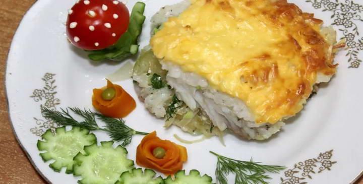 Запеченная рыба с рисом и сыром в духовке — вкусно и сытно