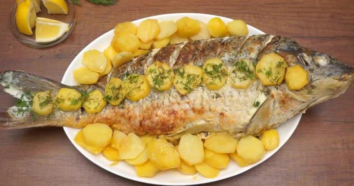 Рыба в сметанном соусе, запеченная с картошкой в духовке на праздник