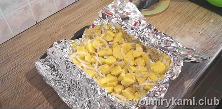 скумбрия в духовке с картошкой в фольге вкусный рецепт с фото