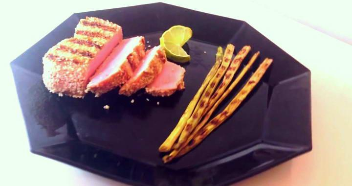 Рецепт вкусного стейка тунца, жареного на гриле