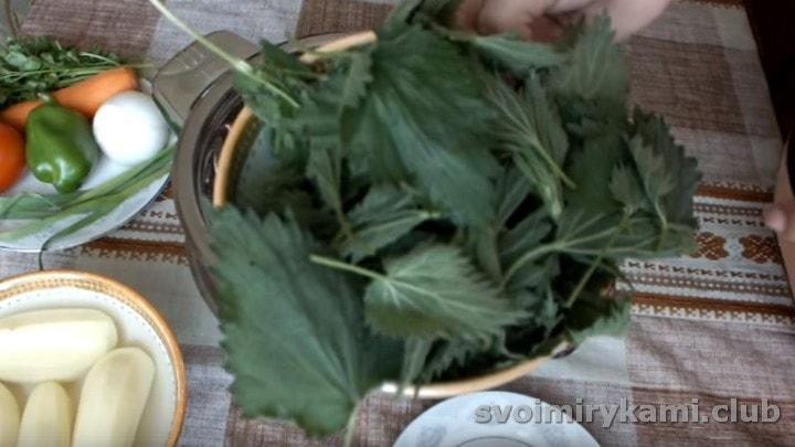 Листья крапивы отрываем от стебельков.