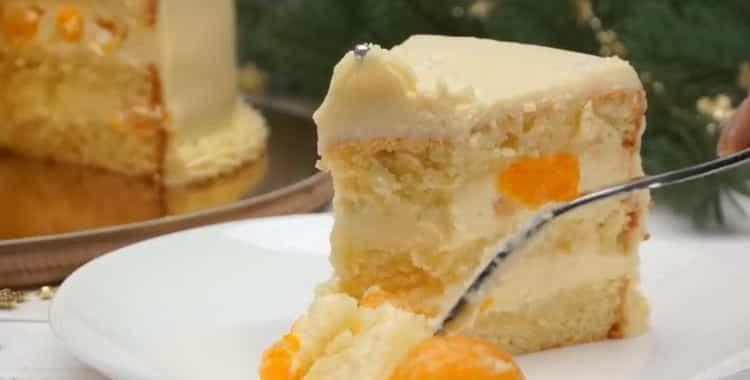 Нежнейший торт на новый год с кремом пломбир и мандаринами 🍰